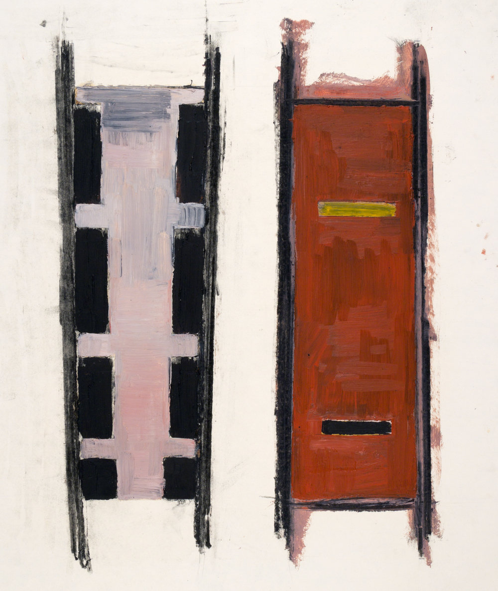 Untitled (Two Verticals), 1975, oil and encaustic on paper, 26 x 20 in.