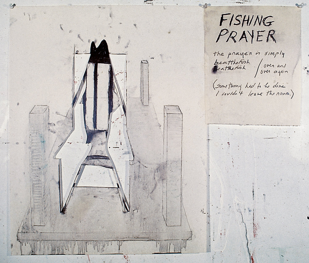 Fishing Prayer, 1976. crayon on oiled paper, 30 x 30 in.
