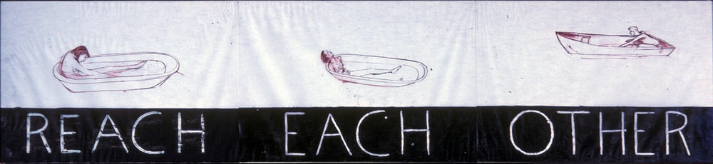 Reach Each Other, 1977. ink, wax and enamel on oiled paper, 3 sheets. 22 x 102 in.