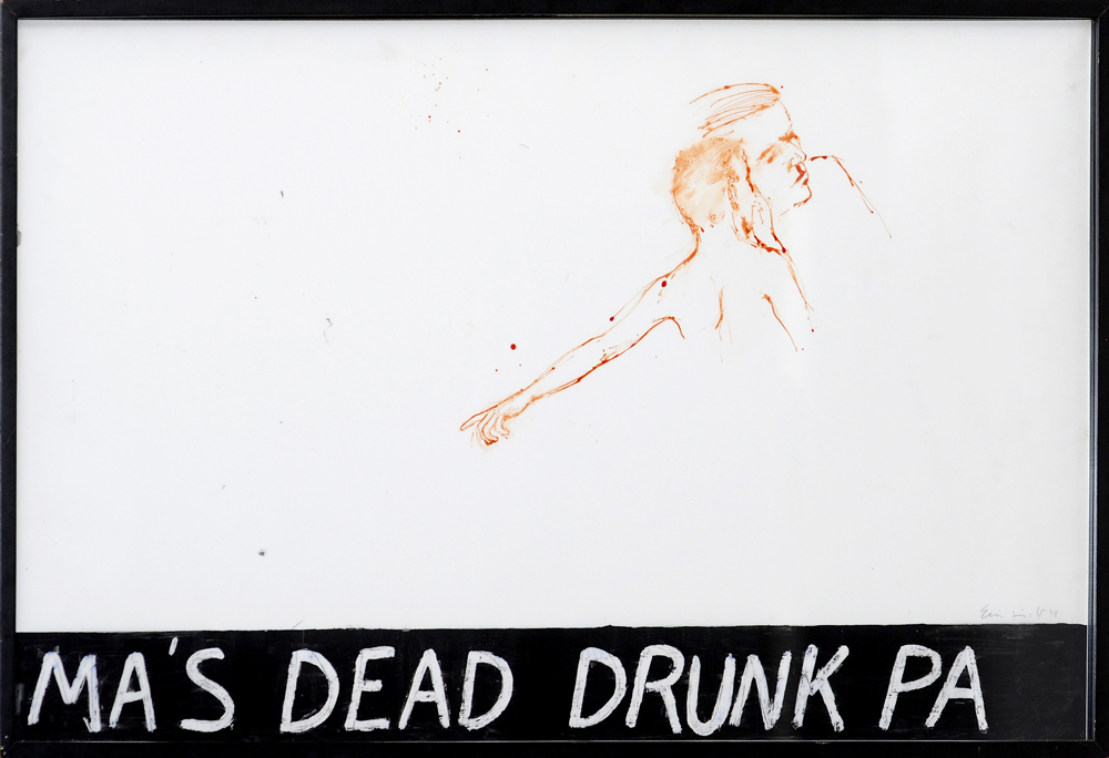 Ma's Dead Drunk Pa, 1978. watercolor and oil on paper. 24 x 40 in.