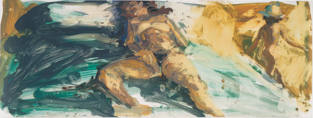 Study for Floating Islands, 1985. Oil on Chromecoat 12 x 32 1/4 inches