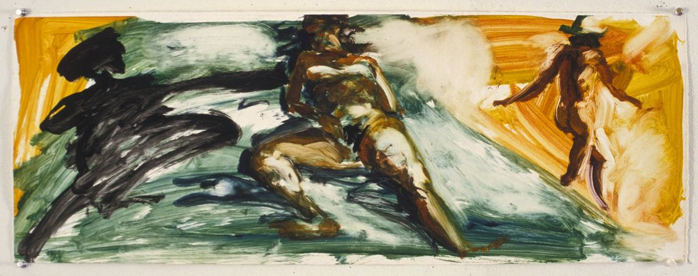 Untitled study for Floating Islands, 1985. monotype 11 1/2 x 31 1/2 inches