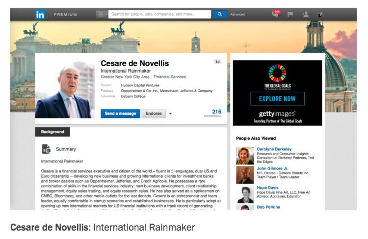 Cesare de Novellis Hudson Capital Ventures Brand Promise