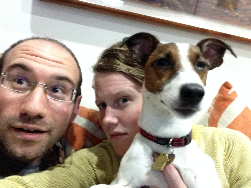 Mike, Kate, and Hubble the dog.