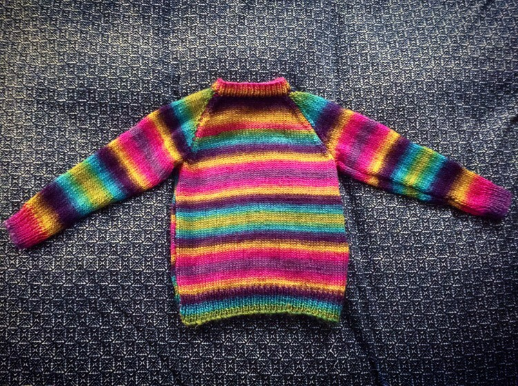 "Rainbow ""Inauguration aka WTF"" Sweater, knitted by Azzure Alexander"