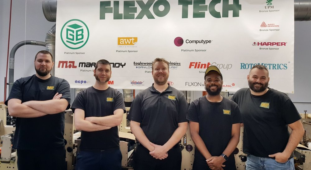 Left to right: David Forbes (Infiana), Ed Lashley (Infiana), Shawn Oetjen (Flexographic Tech Instructor), David Bey (Infiana), Adam Byam (AWT Labels & Packaging)