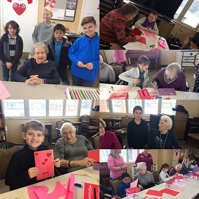 Mrs. Frary's 3rd-5th graders spreading joy to the residents at Appledorn Assisted Living Center!