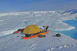 Camped on an ice floe.