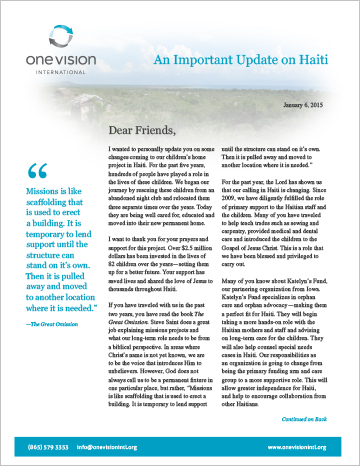 2015 Update on Haiti