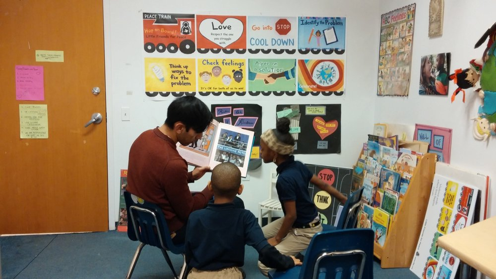 Ethan Nava reads at Little Friends for Peace