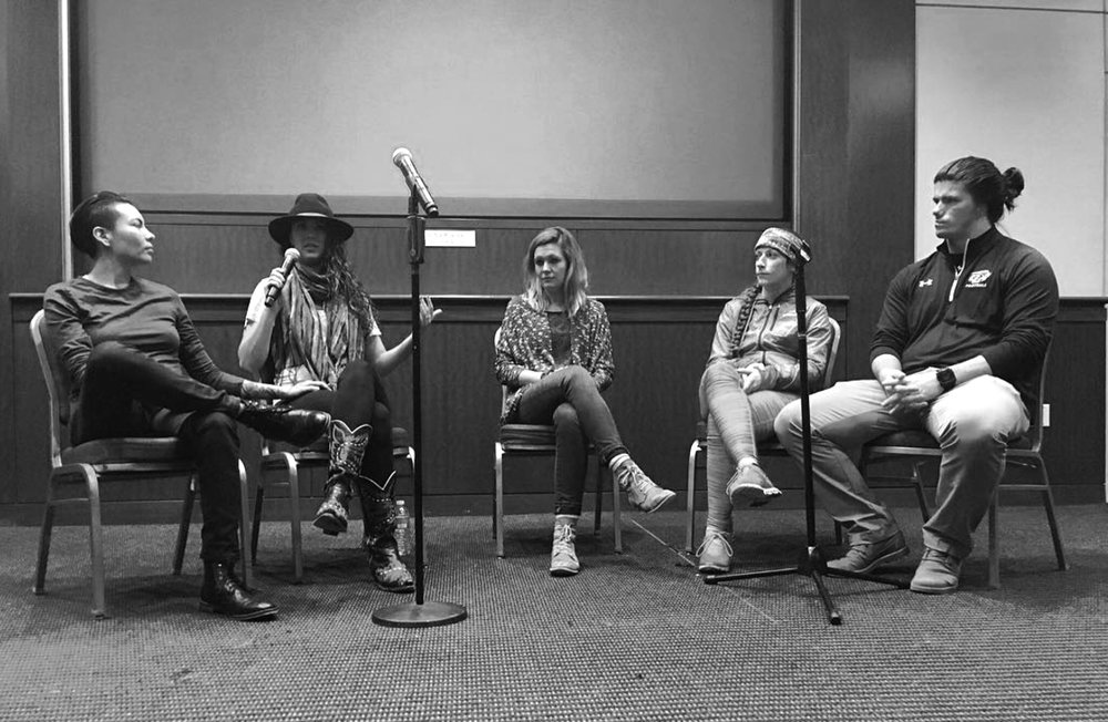 """Hannah """"Dot""""Sheridan, Alexandra Dietz, Mimi d'Autremont, Katie giles, and Shelby Bean discuss appearing in and creating their documentary films at George Washington University's King Week event FIRST CUT: Bridging Cultural Divides Through Film. Photo by Kristin Adair"""