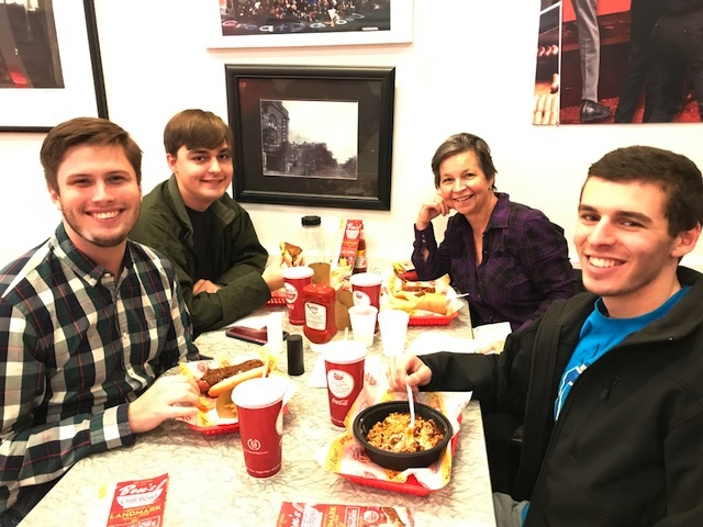 Civic house scholars and professor phyllis ryder at ben's chili bowl, november 2017