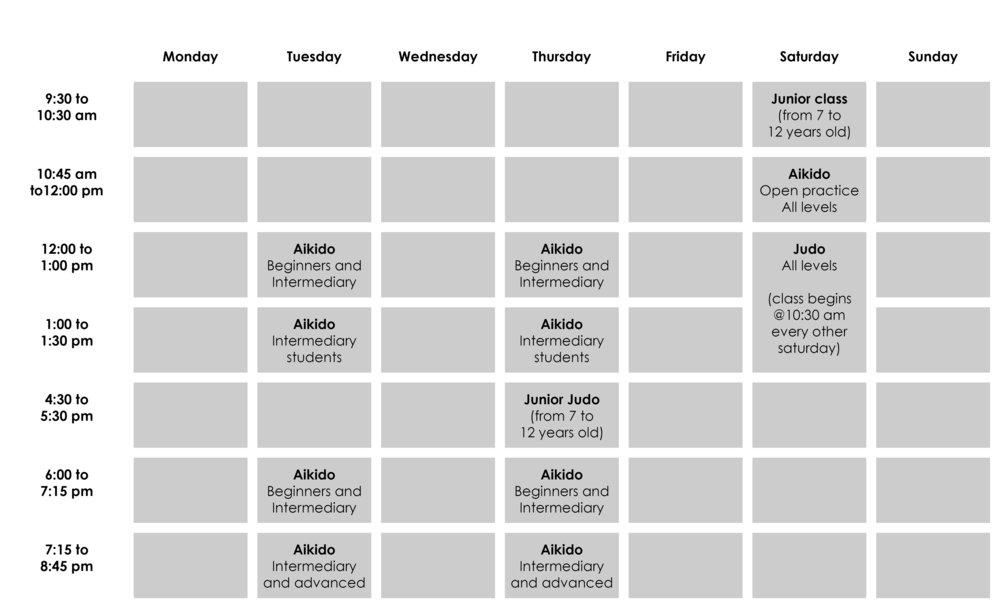 Practices schedule