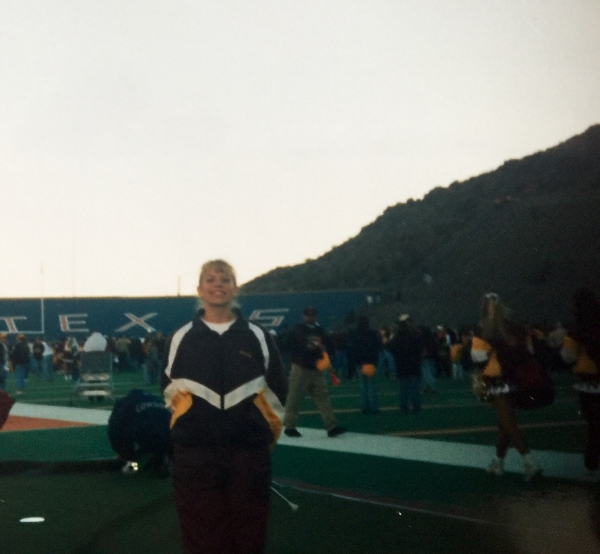Ms. Mindy ready to twirl at the Sun Bowl game in El Paso, TX with the ASU Marching Band - Jan 1998