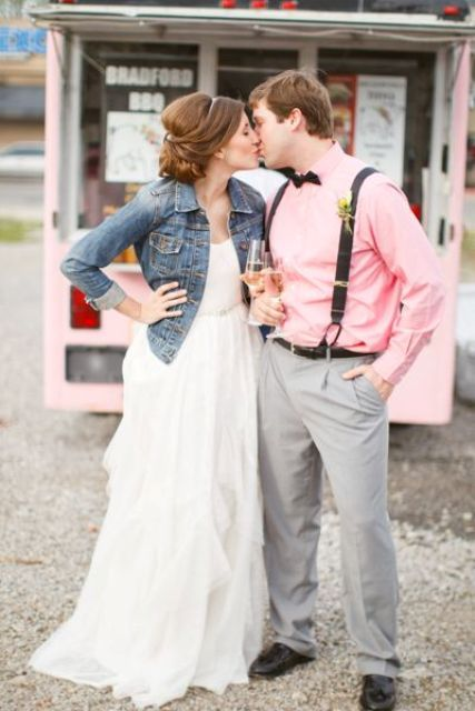 05-casual-bride-in-a-ruffle-dress-with-a-rhinestone-sash-and-a-denim-jacket.jpg