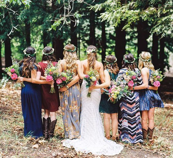 Boho-Bridesmaids-Blue-Mis-Matched-dresses.jpg