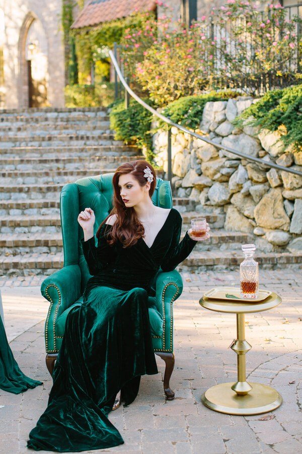 06-emerald-long-sleeve-V-neckline-velvet-wedding-dress-with-a-train.jpg