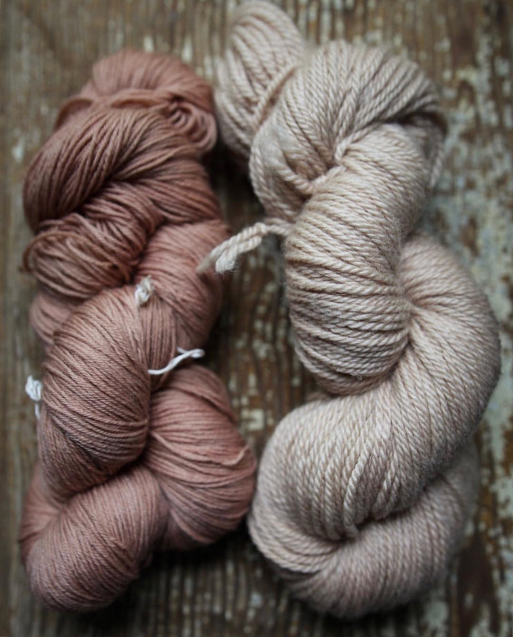 Left: superwash merino. Right: non-superwash merino. No mordant. Just slow processed in aluminum dye pots.