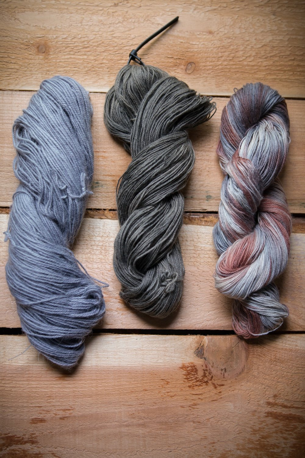 left to right: iron modified logwood, lavender and twist-dyed avocado