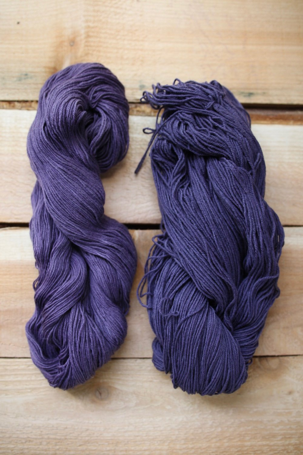 left: logwood on eco merino | right: iron modified logwood on eco merino