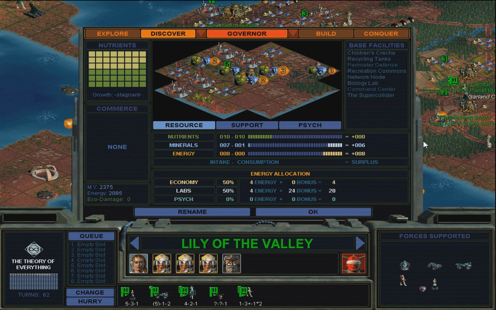 Original Governor/City Management Screen