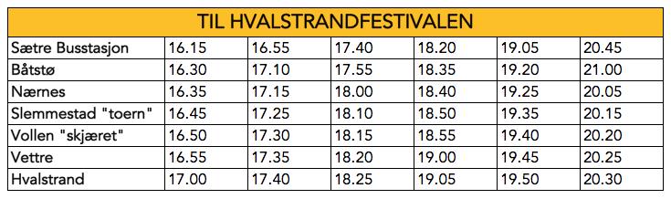 Til Hvalstrandfestivalen vil bussen til stoppe på angitte stoppesteder.