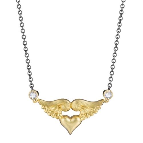 Rose gold pav flying heart ring anthony lent earrings winged heart necklace aloadofball Gallery