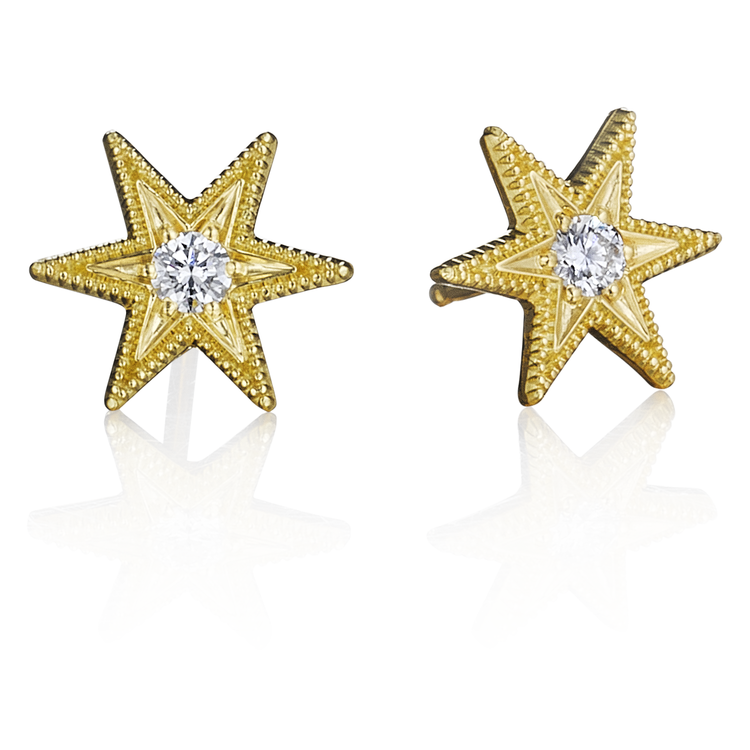 tiny star stud gold earrings haak boxed annie rose