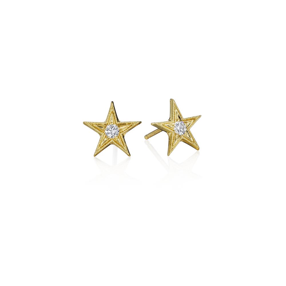 Silver  Point Diamond Square Stud Earrings
