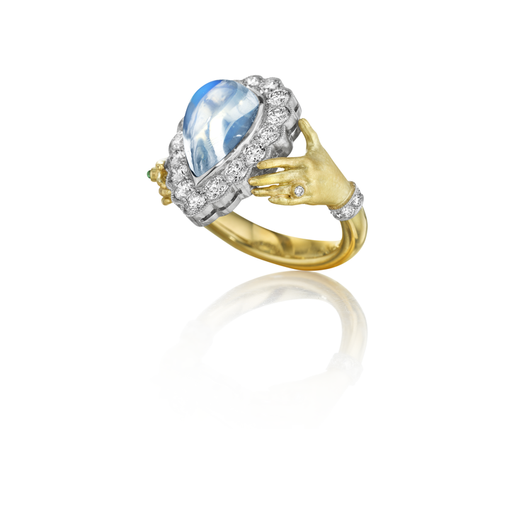 pav moonstone adorned hands ring - Moonstone Wedding Ring