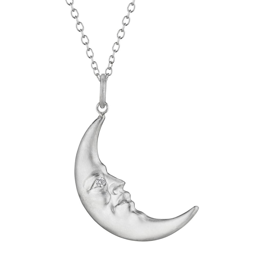 Face Pendant Sterling silver crescent moonface pendant with diamond eyes sterling silver crescent moonface pendant with diamond eyes anthony lent audiocablefo