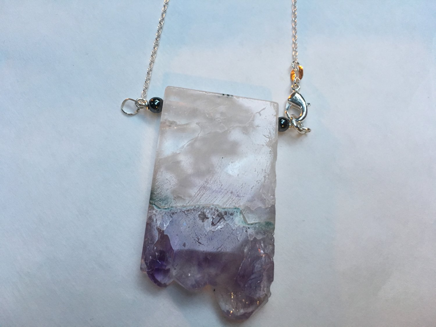Amethyst Druzy Slice Pendant Necklace — The Celestine Collection