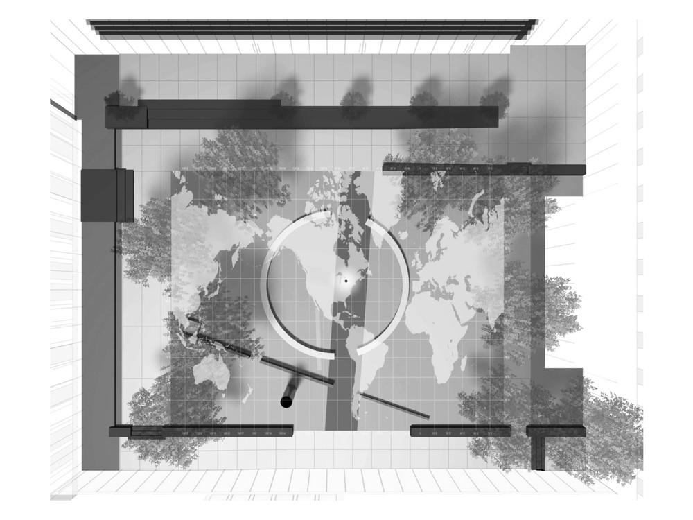 World Map with Latitude/Longitude Overlay with Courtyard Layout