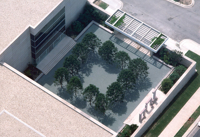 Aerial view of original courtyard