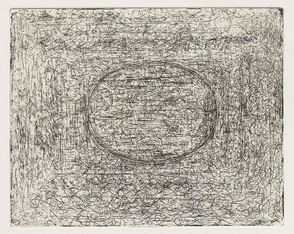 Etching of thin black lines on a white background with an oval in the center.