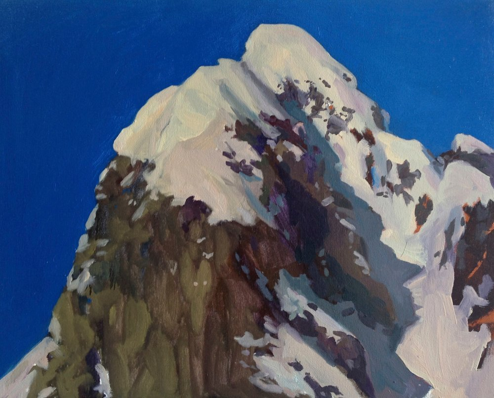 Painterly rendering of a snowy mountain top with a bright blue sky.