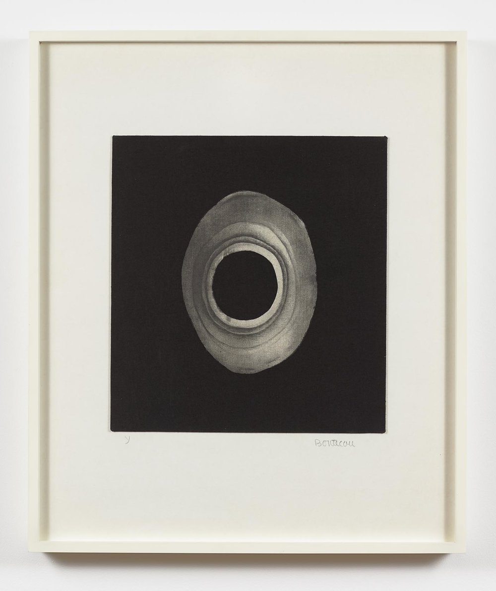 "Lee Bontecou  (b. 1931)  Untitled , 1968 Silk screen on fabric 14 x 13 inches  Part of the portfolio ""Ten from Leo Castelli,"" which included works by Bontecou, Johns, Lichtenstein, Poons, Stella, and Warhol, among others."