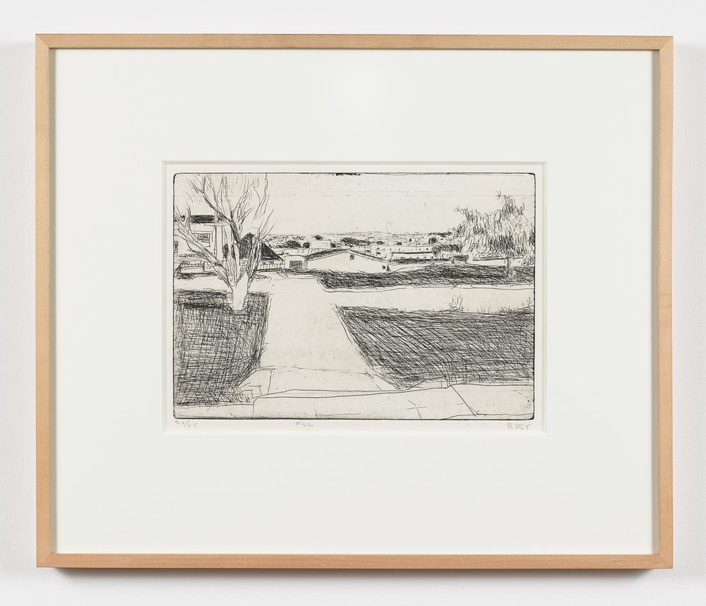 Richard Diebenkorn  (1922-1993)  #32 from 41 Etchings and Drypoints Street Scene — Trees, Houses, Lawns , 1965 Etching on Rives BFK paper Plate: 7 3/4 x 11 3/4 inches Sheet: 14 3/4 x 18 inches Edition: 20/25