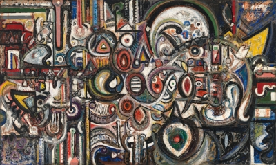 Richard Pousette-Dart (1916-1992)   Within the Room , (1942). Oil on canvas and wood, 36 x 60 inches.  Whitney Museum of American Art, New York; 50th Anniversary gift of the artist 2014.99