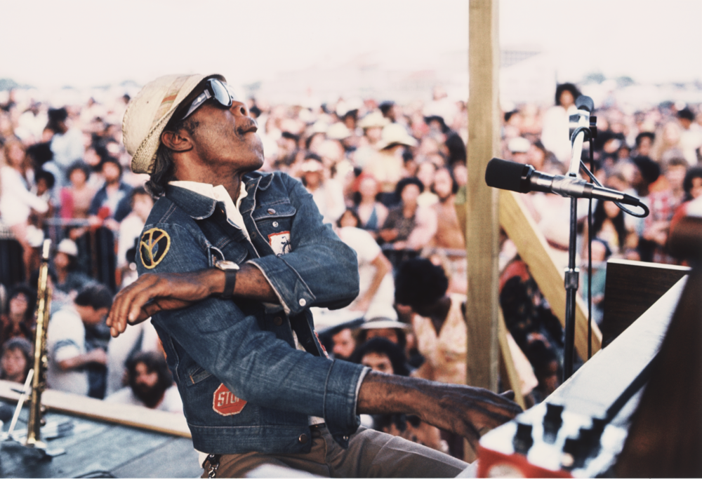 Photograph by Michael P. Smith ©The Historic New Orleans Collection, New Orleans Jazz Museum, Professor Longhair at the New Orleans Jazz & Heritage Festival in 1977, 2003.003.63.