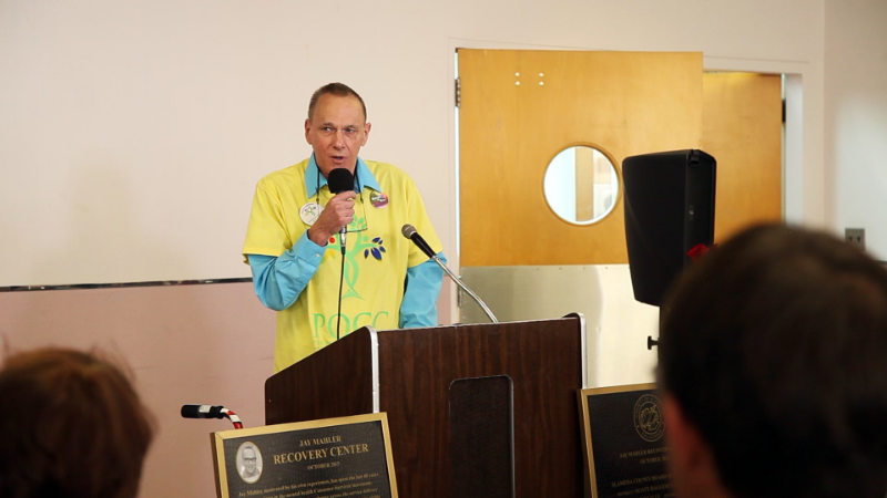 Jay Mahler  giving a speech at the opening of Telecare's Jay Mahler Recovery Center on October 29.