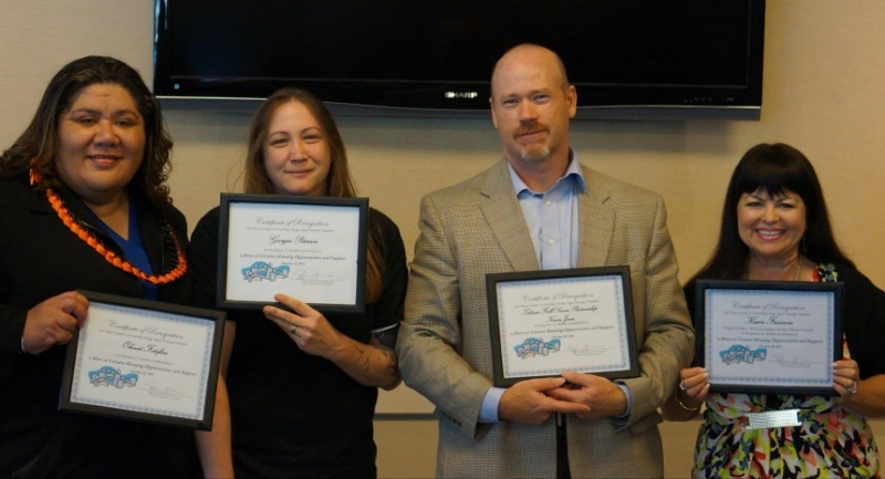 (L-R) Ohevet Fotofini , Board and Care Operator;  Georgia Peterson , Mental Health Association/Spring Street Shelter;  Kevin Jones , Administrator, Telecare Transitions; and  Karen Francone , Service League of San Mateo receive their Housing Heroes awards on October 22.