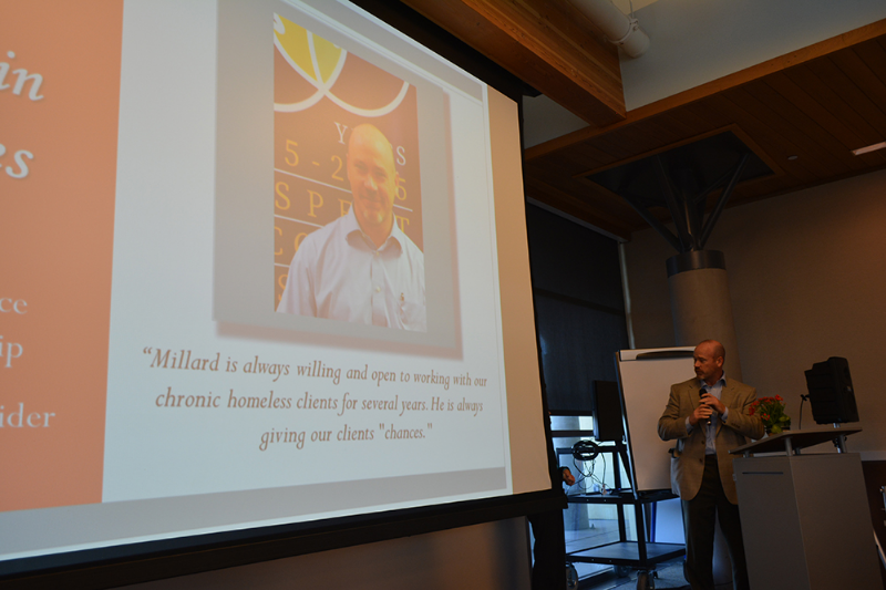 "Kevin Jones, right, anticipates his staff will enjoy reminding him of the unintentionally humorous mis-attribution to a presentation slide identifying him as ""Millard."""