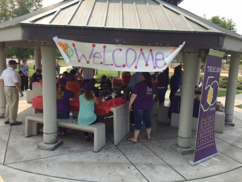 Clients are welcomed to the Telecare Early Intervention and Recovery Program (TEIR) BBQ on Friday, September 11, 2015.