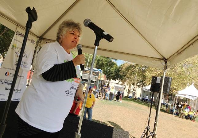 Toni Anne Tullys , Director, Department of Santa Clara County Department of Behavioral Health, speaks at the Silicon Valley NAMI Walk on Saturday, September 17.