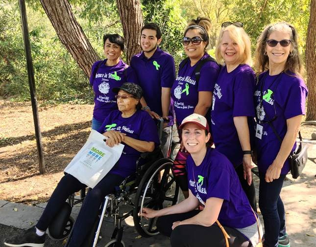 (L-R back row): Rachael Castro , Housing Supervisor;  Mathew Castro ;  Edie Coronado ;  Lillian Fillpot , Administrator;  Jennie Kosko , Personal Service Coordinator. (Bottom row L-R):  Justina Coronado  and  Kristen Everett , Clinical Director at the Santa Clara NAMI walk on   Saturday, September 17.