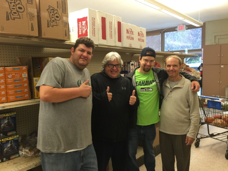 (L-R)   WOODBURN VOLUNTEERS CHRIS R., ALAN S., OLIVER P., WITH FOOD BANK SUPERVISOR WILBUR