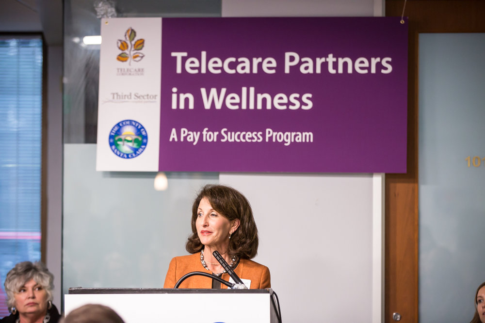 Anne Bakar , President and CEO of Telecare, speaks at the Telecare Partners in Wellness Open House on February 8, 2017.