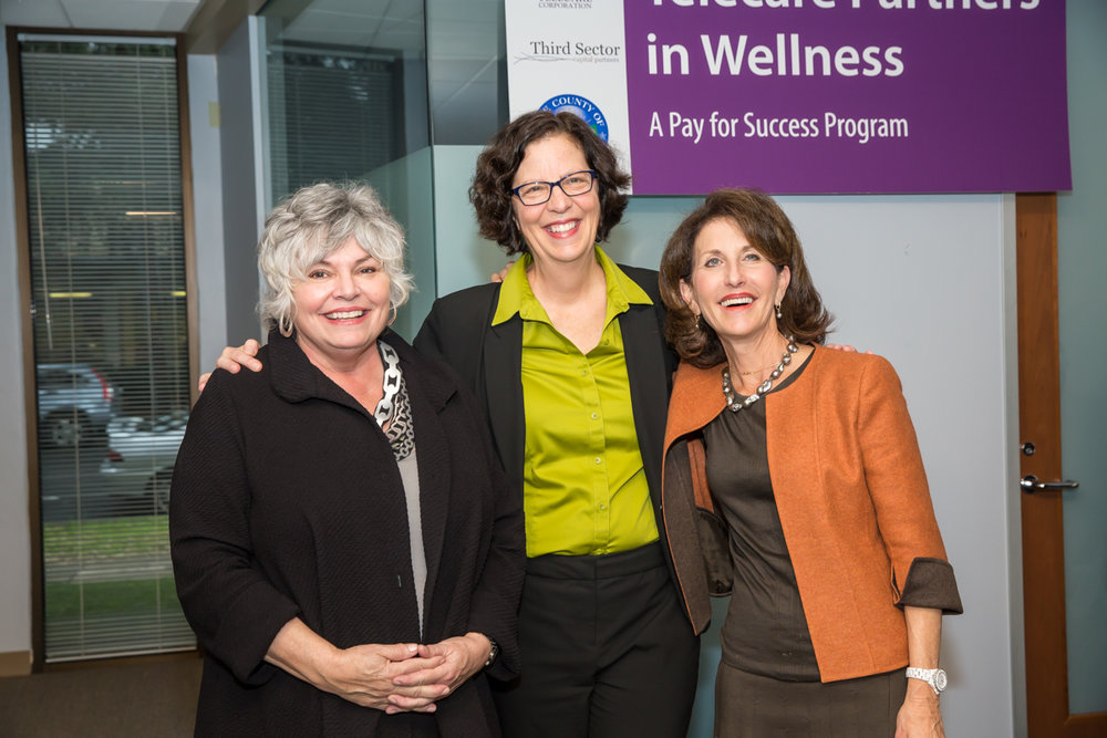 (L-R)  Toni Tullys , Director of Behavioral Health Services for Santa Clara County;  Faith Richie , Senior Vice President of Development at Telecare; and  Anne Bakar , President and CEO of Telecare, at the Telecare Partners in Wellness Open House on February 8, 2017.
