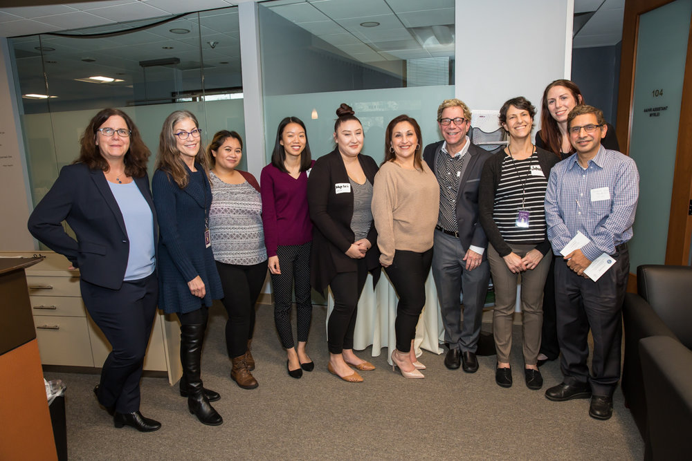 (L-R)  Laura Wolff , Regional Operations Director; Jennie Kosko , Substance Use Specialist; Krizia Maldonado , RN Supervisor;  Alex Chen , Data Analyst; Myrlei Pat , HR/AA;  Veronica Mosqueda , Business Office Manager; Scott Madover , Director of SUDS at Telecare;  Johanna Jefferies , Personal Service Coordinator II; Kristen Everett , Clinical Director; and  Dr. Basant Singh , Psychiatrist, at the Telecare Partners in Wellness Open House on February 8, 2017.